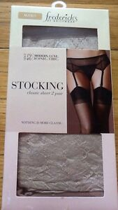 NIB Fredericks of Hollywood Sexy Stocking Classic Sheer 2 Pair White Black Latte