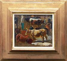 Paul Weber 1823 Darmstadt-1916 München: Bauer mit Kühen Viehmarkt, Ölgemälde Rar