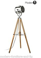 NAUTICAL SEARCH LIGHT STANDARD FLOOR LAMP, TRIPOD FLOOR LAMP WITH CHROME SHADE