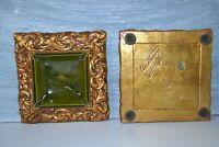 Vintage Freeman & McFarlin Pottery Ashtray Set  Mid Century Set MCM Gold Green 2