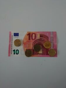 Leftover holiday money 10 euros and 50 cents.
