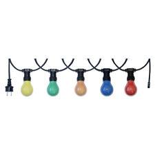 10m Illu Leitung Lichterkette für innen u außen inkl. 10 Glühbirnen E27 25W bunt