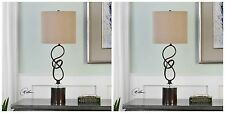 TWO NEW TWISTED METAL TABLE LAMP DARK BRONZE WITH CRYSTAL ACCENTS DESK LIGHT