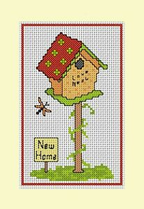 """Counted Cross Stitch Kit, New Home Bird House Card, Card 8"""" x 6"""""""