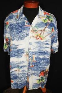 VINTAGE 1990'S  SILKY RAYON HAWAIIAN PRINT SHIRT SIZE XL