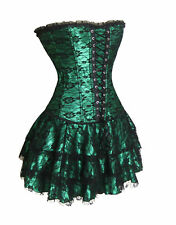 Green Deluxe Satin Corset Bustier & Skirt Nightwear Party DB V2162GS