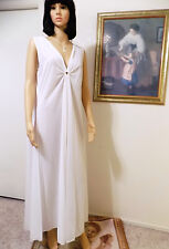 LUCIE ANN Nylon vintage KEYHOLE GRECIAN Nightgown PURE WHITE size S small