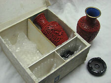 Vintage pair of  Unique  Hand Carved Cinnabar Vases with Crate