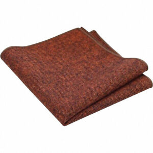 Rusty Brown / Burnt Orange Tweed / Wool Pocket Square Hankerchief. Great Reviews