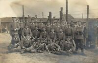 GERMAN SOLDIERS WW1 P.O.W. CAMP? BAYONET WAR RPPC ANTIQUE PHOTO POSTCARD