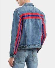 NWT Men's Levi's Bolt Red Stripe Trucker Blue Denim Jean Jacket ALL SIZES XS-2XL