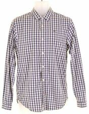 TOMMY HILFIGER Mens Shirt Small Blue Check Cotton Slim Fit  EA07