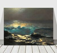 """WINSLOW HOMER - Moonlight at Wood Island -CANVAS ART PRINT POSTER - Beach 32x24"""""""
