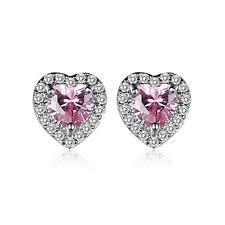 Wedding Jewelry Gift Heart Cut Pink & White Topaz Gemstone Silver Stud Earrings