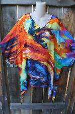 DILEMMA HAND PAINTED ESTEVE INSPIRED SILK BLEND ART TO WEAR LONG PONCHO TUNIC,OS