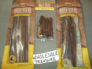 (TWO) 4-ct LARGE Cadet Bully Sticks Premium Bull Pizzle Dog Treats w/FREE GIFT!