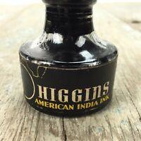 Vintage Higgins Drawing Pen Ink Bottle, Black, fountain pen, empty inkwell