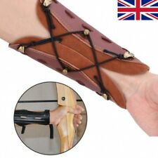 More details for shooting hunting leather arm guard protection archery arrow safe strap armband