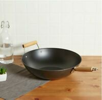"""Giant 14"""" Non Stick Wok Frying Cooker Pan Steam Vintage 3 Skillet Fry Lodge Cast"""