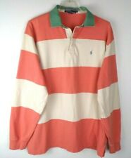 New listing Vintage Polo Ralph Lauren Rugby Shirt Mens Size Large Peach Beige Big Stripes