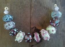 "~ ""Willow"" Handmade Lampwork GLASS Beads FREE SHIP 14mm OOAK ~"