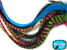 10 Pieces - RAINBOW COMBO MIX Long Rooster Hair Extension Feathers