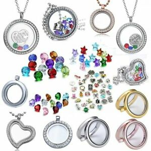 Crystal Charms Floating Heart Round Locket Mother's Living Memory Mom Necklace