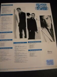 ENRIQUE IGLESIAS Chayanne RICKY MARTIN Top Latin Pop Charts 1999 PROMO POSTER AD