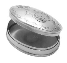 Sterling Silver Fern Engraved Oval Pill Box - BX004