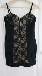 BN Ann Summers Natalia Dress Black & Nude Stretch Panels with Lace Overlay UK12