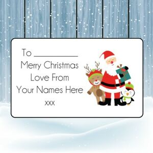 Santa Group Christmas Personalised Gift Wrap Tags Present Stickers Labels xmas