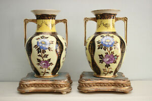 "A Cheerful Pair of Noritake Vases, Primrose Yellow Amphorae, Floral & Gilt, 8"""