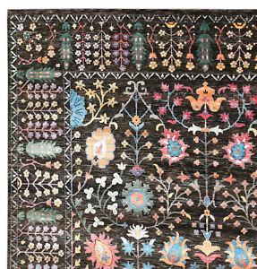 New Oushak Neutral Brown Hand Knotted Parsian Antique Style Silk Wool Area Rugs