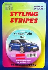 Self Adhesive Car Pin Stripe Coach Tape Syling Stripe Red 6 / 3mm Twin x 10mtr