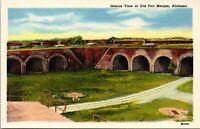 Vintage 1930's Interior of Old Fort Morgan Alabama AL Postcard