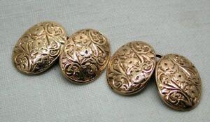 Beautiful Pair Of Victorian 9 Carat Rose Gold Engraved Cufflinks