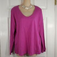 JCP Size Large Petite PL Pink Womens V Neck Shirt Top 100% Cotton Machine Wash