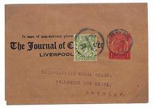 T70 GB GV Liverpool Antwerp Belgium Postal Stationery Cover {samwells-covers}PTS