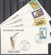 Gabon, Scott cat. 638-641. Native Music Instruments issue on 4 First day covers.