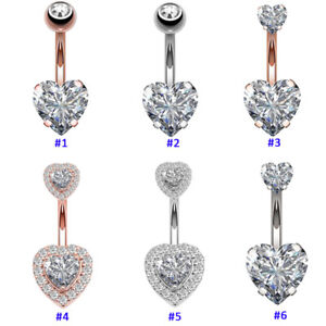 Heart Belly Button Bar Barbell Crystal Drop Dangle Body Piercing Navel Ring Bars