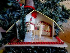 Vintage Putz House&Mirrored&Be ads&Celluloid Reindeer Xmas Deco/Ornament Rare