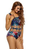 Women Size M,L,XL, XXL Ladies Crisscross Detail Cutout Floral One Piece Swimsuit