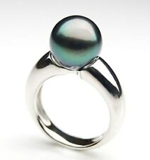Pacific Pearls® Genuine 11mm Black Tahitian Pearl Silver Ring Anniversary Gifts