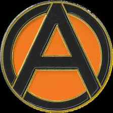 "1"" Black and Orange Anarchy Lapel Pin"