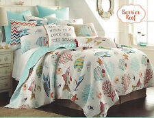☆ COLORFUL TROPICAL FISH ☆ Twin Quilt Seashells Starfish Coral Beach House