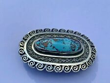 Antique Natural Matrix Turquoise Sterling Silver Brooch C Clasp
