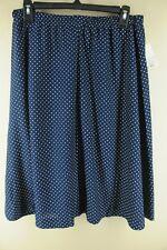 Vintage Femmes Marine & Pois Blanc Polyester 21.3ms Jupe L/XL