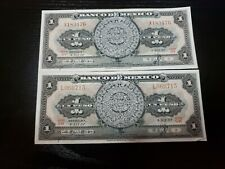 🇲🇽 Mexico 1 Peso 4- December 1957  P-59 Currency Banknote Money Qty 2