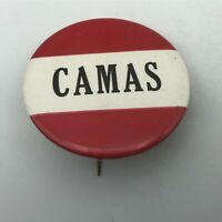 """Vintage CAMAS 2-1/4"""" Button Pin Pinback Red + White Washington   Y4"""