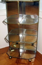 "12"" Vintage Brass Curio Glass Shelf Table Top Mirrored Display Case"